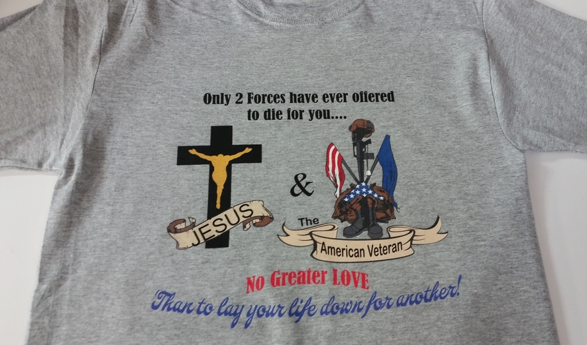 Jesus & the American Veteran February 2017 Promotional T-Shirt (Size: Large)