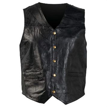 Patchwork Design Genuine Leather Vest (Size: Small)
