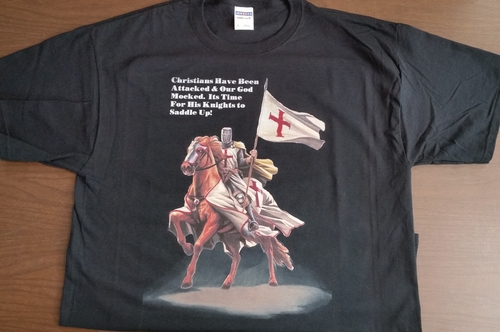Christians Saddle Up Shirt With Templar Knight (Size: Large)