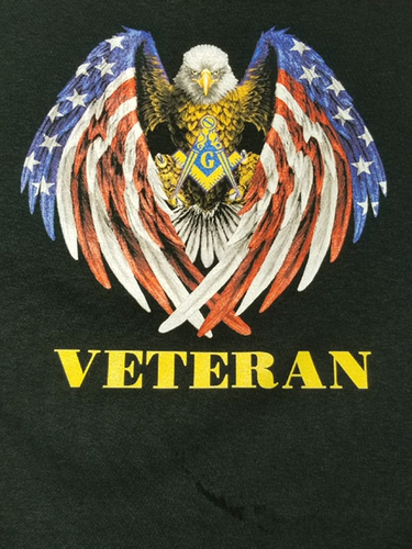 Masonic Veteran Swooping Eagle & Flag T-Shirt w/ Square & Compass (Size: Large)