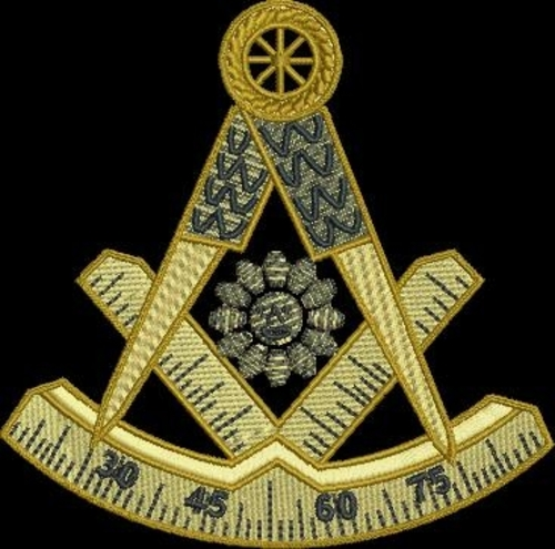 "Past Master Square and Compass Bullion Style (Patch Size: 11.5"" W x 11"" T)"