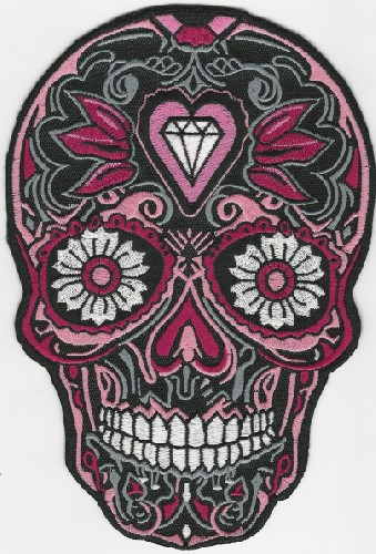 Intricate Sugar Skull style patch with Daisy Eyes (Color: Pink)